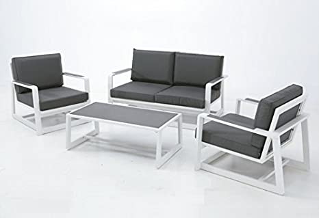 Set Bora sofa aluminio blanco textilene antracita: Amazon.es ...