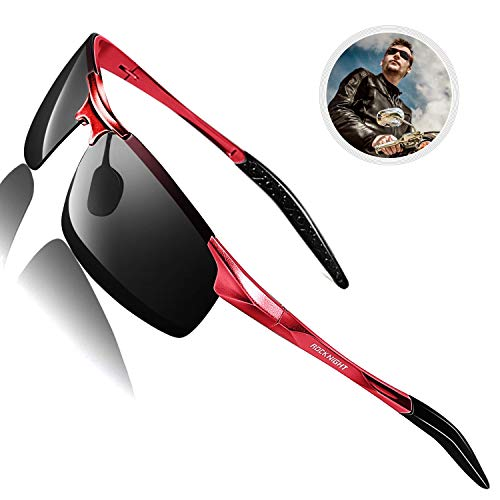 ROCKNIGHT UV400 Sunglasses for Men Polarized UV Protection Beach Cool Sunglasses Outdoor Red Frame ()