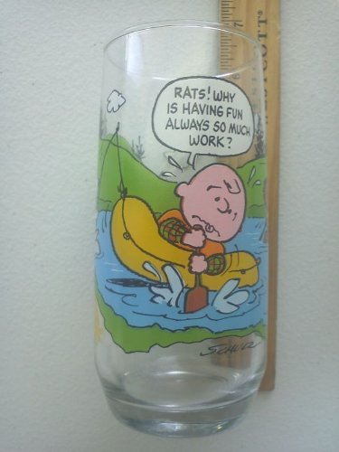 Vintage McDonald's Camp Snoopy Peanuts Collection Glass RATS! WHY IS HAVING FUN ALWAYS SO MUCH WORK?