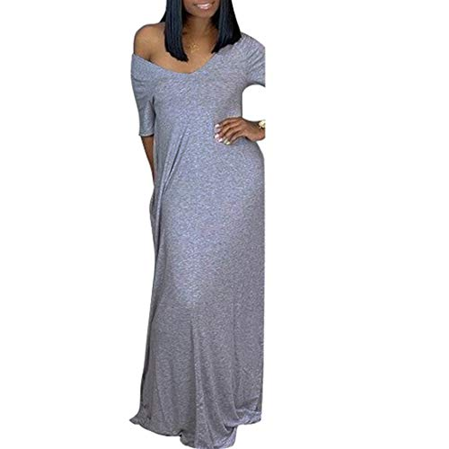Womens One Off Shoulder Caftan Dresses - Short Sleeve Casual Loose Beach Long Maxi Dress with Pockets Gray Medium