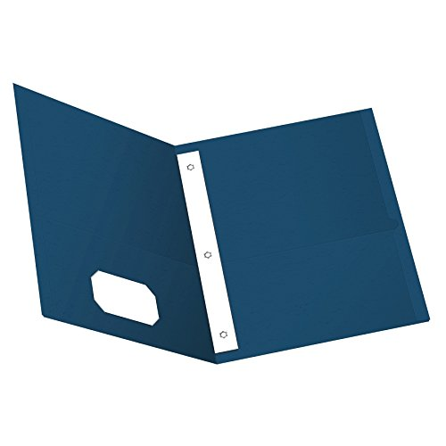 Oxford Twin Pocket Folders with Fasteners, Letter Size, Blue, 25 per Box (57702) (Esselte Business Card Holder)
