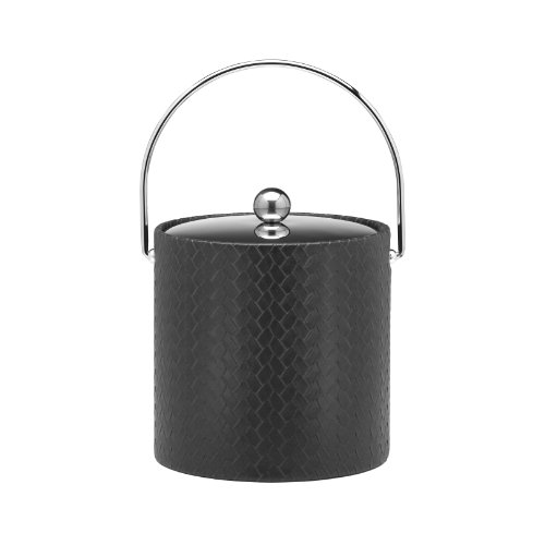 Kraftware Ice Bucket with Stitched Handle and Metal Cover, Black - 3 Quart
