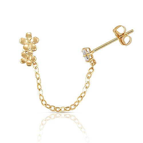 Solid Flowers Chained to a CZ Stud Double Piercing Earring in 14K Yellow Gold (Sold Individually - 1 Earring)