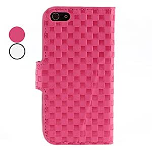 SHOUJIKE Lattice Pattern PU Leather Case with Stand and Card Slot for iPhone 5/5S (Assorted Colors) , Rose