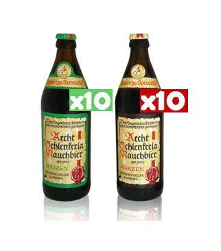 【ドイツビール】シュレンケルララオホビア メルツェン&ヴァイツェン セット【SCHLENKERLA RAUCH BIER Märzen & Weizen】500ml瓶×20本 (各種10本×2種類)  B078SQPPVP