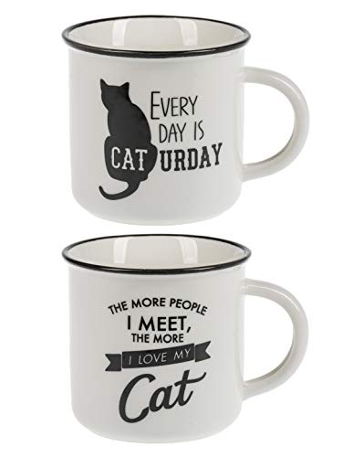 - Ganz Black and White Pet Cat Mugs Set of 2 Assorted