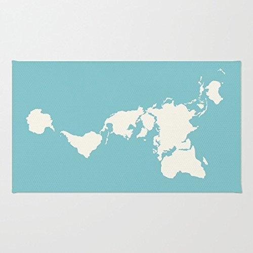 Dymaxion Map on Blue Coral Velvet Doormat, Indoor/Outdoor Floor - Map Rig