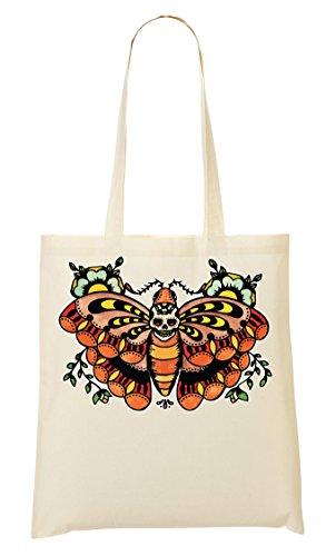 ShutUp Butterfly Old school tattoo collection Skull Vintage colors Bolso De Mano Bolsa De La Compra
