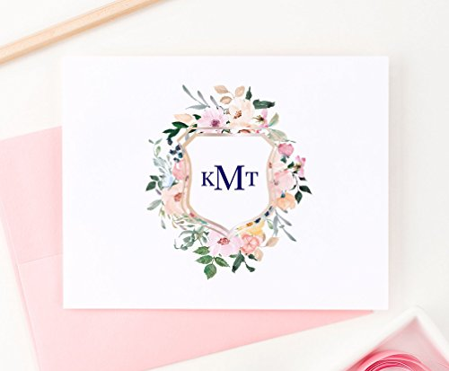 Floral Monogram Crest Stationery, Your Choice of Colors, Set of 10 folded note cards and envelopes Crest Stationery