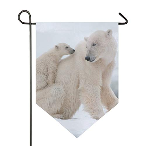 YATELI Garden Flag Winter Snow Polar Bear 12x18.5