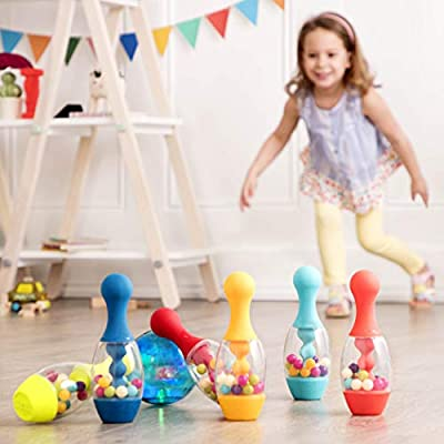 B. Toys – Let's Glow Bowling! – Multicolored Six Pin Toy Bowling Set with Flashing Light-Up Ball & Carrying Caddy for Kids Ages 2+, BX1884C1Z: Toys & Games