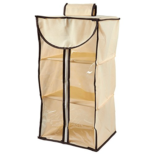 Juvale Hanging Closet Organizer - 3-Tier Clothing Storage Rack, Wall Organizer with Cardboard Shelves, Zipper Closure, Hanging Drawers with Hook and Loop Fastener, 14.5 x 12.5 x 1 Inches ()