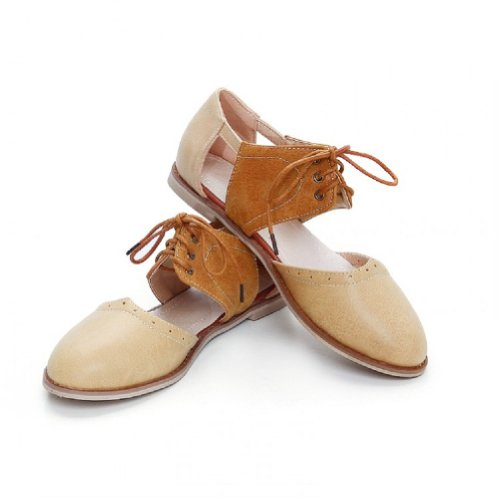 Charme Pied Vintage Femmes Casual Sandales Plates Chaussures Abricot