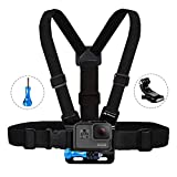 MiPremium Chest Mount Harness Compatible with GoPro Hero 8 7 6 5 4 3 3+ 2 Fusion Session Black Silver & AKASO EK7000 Sjcam Sports Cameras Adjustable Body Strap + Jhook & Aluminum Thumbscrew Accessory