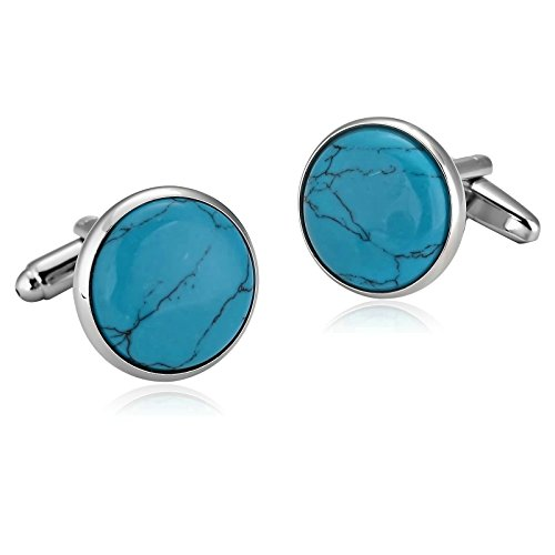 Aooaz Mens Cufflinks Stainless Steel Blue Plain Series Mirror Circle 1.8X1.8CM Dad Jewelry Box Fancy Elegant Unique (Cufflinks Polished Plain)