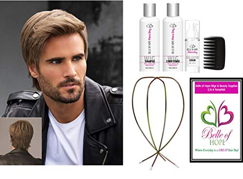 7pc Bundle: EDGE HF Men's Synthetic Wig by HIM, Mara Ray Luxury 4Pc Travel Kit, Wire Wig stand and 19 Page Belle of Hope Q & A Booklet (M3S)
