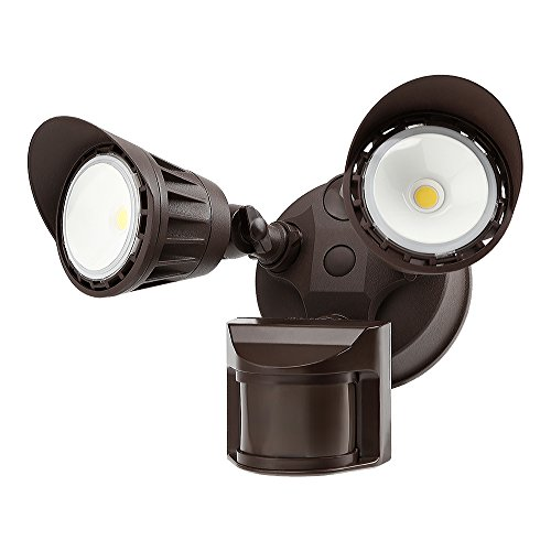 Dual-Head Motion-Activated LED Outdoor Security Light, Waterproof, Photocell Included, Newly Added DIM Mode, 3000K Warm White, 25W (200W Halogen Equiv.) Area Lighting for Yard, Garage, Porch, Bronze