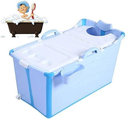折りたたみバスタブ GYF 折りたたみ大人用浴槽 ポータブルプラスチック浴槽 座るカバー付き ホームアダルト 子供用入浴浴槽ベビースイミングビッグタブ 2色折りたたみ式バスタブ (Color : Blue)