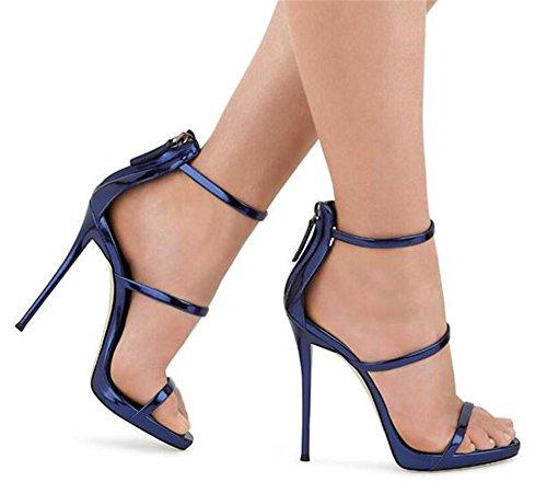 pour BLUE Robe Les femmes 44 bretelles Rome Talon aiguille Chaussures Des Cheville sandales EU37 à 35 Taille Fête xie Cuir club HxqUS8w5w