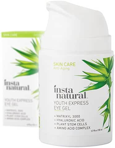 InstaNatural Eye Gel Cream - Wrinkle, Dark Circle, Fine Line & Redness Reducer - Pure & Organic Anti Aging Blend for Men & Women with Hyaluronic Acid - Fight Bags & Lift Skin Under Eyes - 1.7 OZ