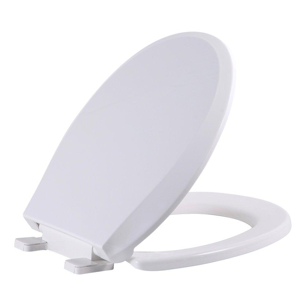 SAMETU Quiet-Close with Grip-Tight Bumpers Plastic Round Toilet Seat, White