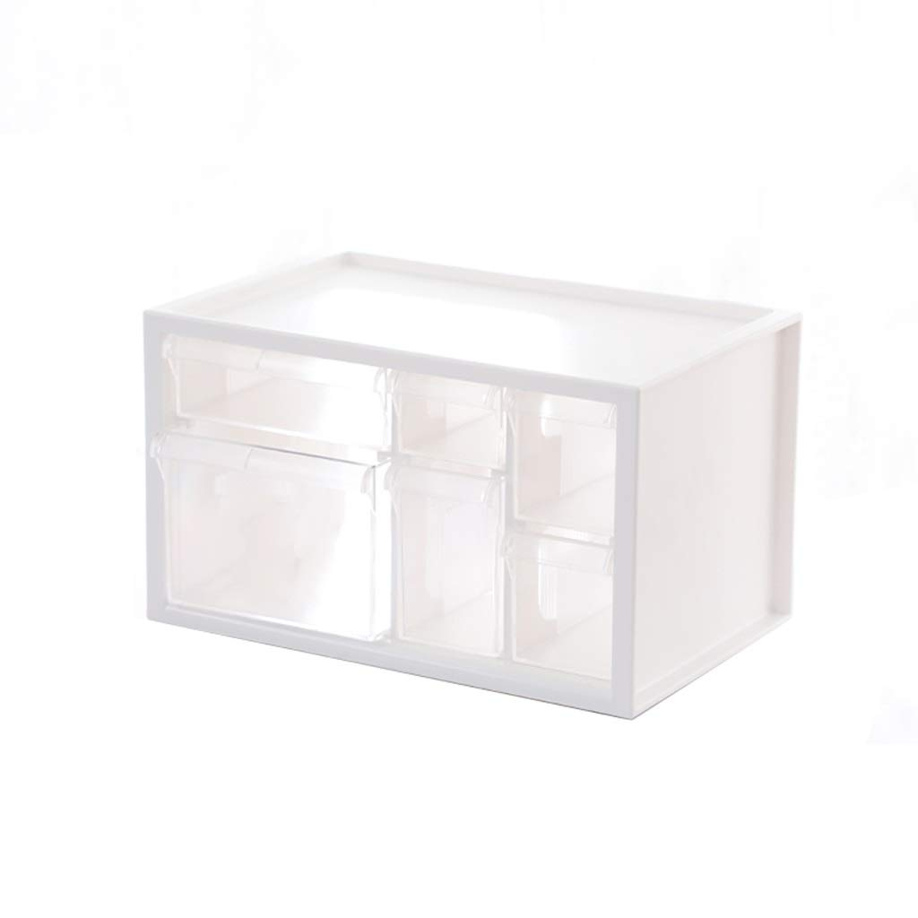 LCSHAN Desktop File Cabinet Extra Large Transparent Drawer Plastic Finishing Cabinet Office File Storage Box (Color : White, Size : S)