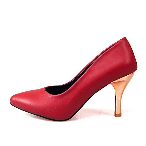 Vedettävä Suljetun Pehmeä Naisten kengät Pumput Materiaali Toe Punainen Korkokenkiä Päälle Huomautti Weipoot Solid 5UIYxwY