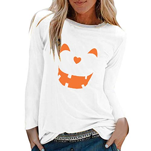 Sanyyanlsy Women's Halloween Smile Face Pumpkin Print T-Shirts Ladies O-Neck Long Sleeves Cotton Tops T-Shirt Sweatshirt White (Best Soccer Websites To Shop)