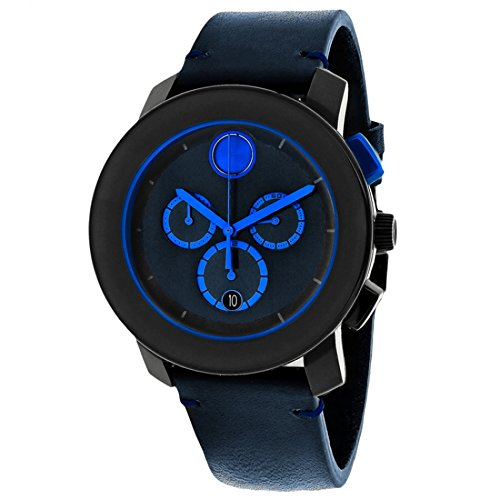 Movado Bold Chronograph Navy Blue Leather Men's Watch 3600349