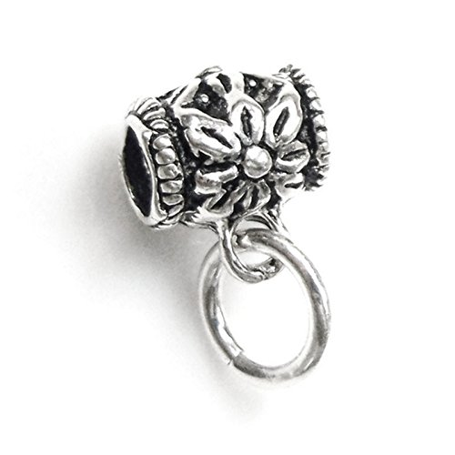 Sterling Silver Flower Connector - Dreambell 2 pcs 925 Sterling Silver Flower Blossom Pendant Charm Connector Tube Bail with 6mm Jump Ring