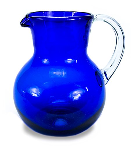 MEXART Hand Blown Cobalt Blue and Clear Handle Decorative Recycled Glass Pitcher, 98 oz 'Cobalt Light'
