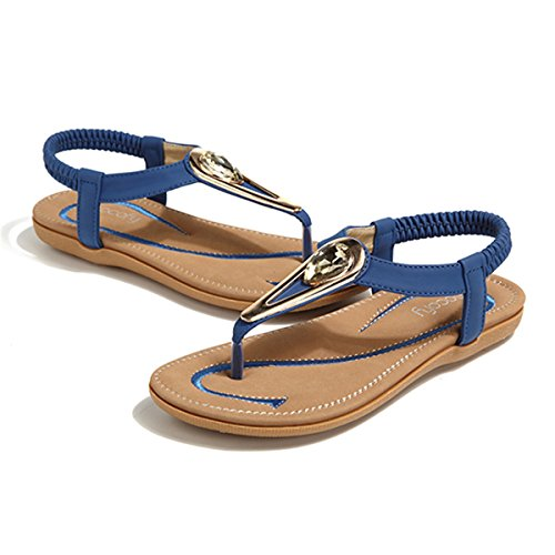 Socofy Damen Sandalen Flip Flops Böhmische Sommer Sandals Flach ... Einfach zu bedienen