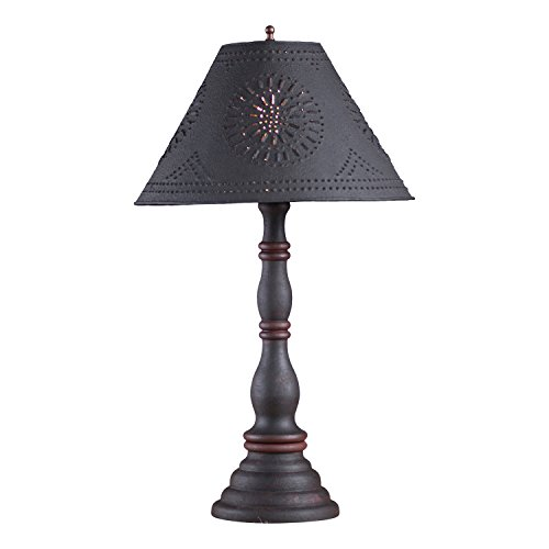 Irvin's Country Tinware Davenport Lamp in Hartford Black with Red with Shade