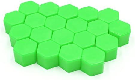 uxcell タイヤスクリューキャップ 21 x 20mm グリーン 自動車 ホイールタイヤ ハブ ネジ ボルトナット キャップ カバー 20個入り