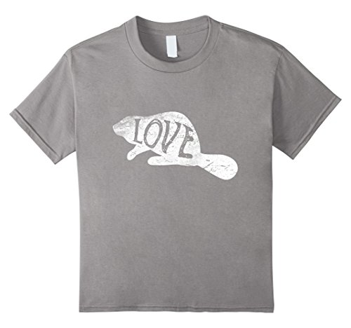 Kids Beaver Silhouette T-Shirt Love Beavers Tee Wildlife Gifts 12 Slate - Wildlife Beaver