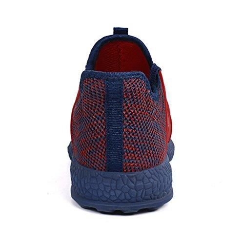 Mxson Womens Sneakers Ultra leichte atmungsaktive Mesh Sport Gym Wanderschuhe rot blau