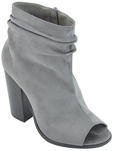 Block Slouch Toe Grey Chunky Bootie Stacked Peep Ankle Heel Marie Women's Bella xqABa0A
