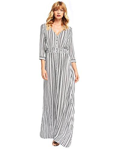 (Milumia Women's Button Up Split Floral Print Flowy Party Maxi Dress Large Black and White)