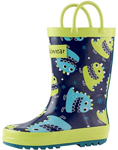 OAKI Kids Rain Boots with Easy-On Handles, Green & Blue Monsters, 5T US -
