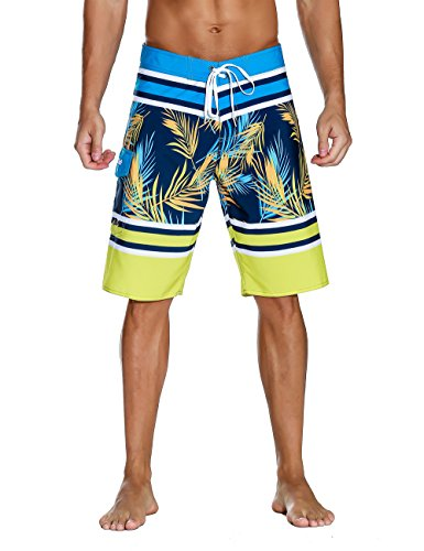 Nonwe Men's Swimwear Grid Printed Quick Dry Board Shorts with Lining Yellow 32 by Nonwe