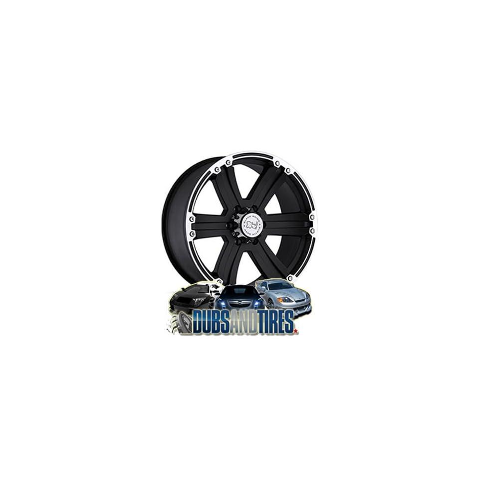 20 Inch 20x9 Black Rhino wheels Dune Matte Black w/Matte Machine Lip CB112 wheels rims