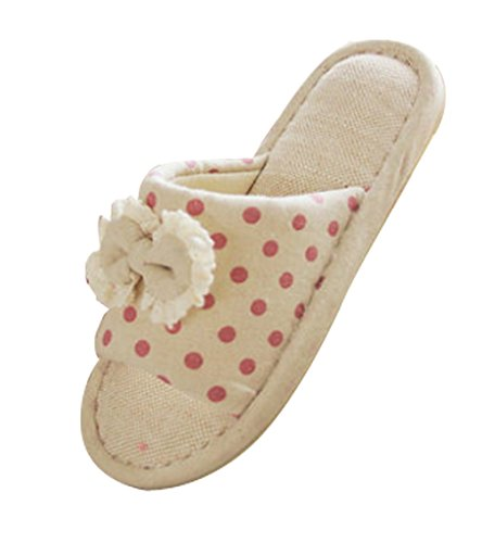 Cattior Womens Bow Flax Cute Slippers House Slippers (5, ...