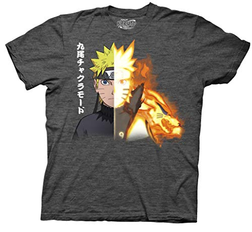 Ripple Junction Naruto Shippuden Naruto Biju Adult T-Shirt (Medium, Premium Charcoal Heather) (Best Naruto Fight Episodes)