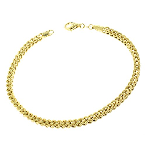 10k Yellow Gold 3.5mm Hollow Franco Link Bracelet Chain 8'' by In Style Designz