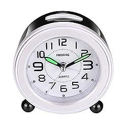 Analog Alarm Clock, Mini Non Ticking Bedside Travel Silent Alarm Clock with Loud Alarm, Night Light, Snooze, Battery Operated Wake Up Clock (Black)