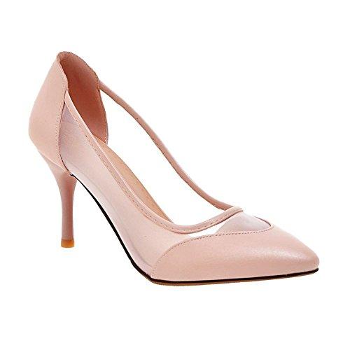 Carolbar Womens Pointed Toe Bridal Wedding Voile Mesh High Heels Pumps Shoes Pink