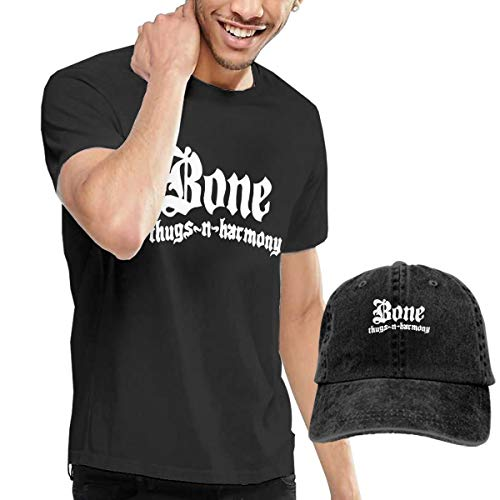(Nutmix Bone Thugs N Harmony Man Classic Short Sleeve T-Shirt and Adjustable Baseball Hat Costume Set)