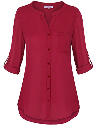 Misswor Cuffed Sleeve Tunic Top, Work Shirt Banded Collar Split V-Neck 3 Quarter Tab Sleeve Button Down Round Hemline Elegant Solid Color Chiffon Tunic Boutique Fall Clothes Red XL