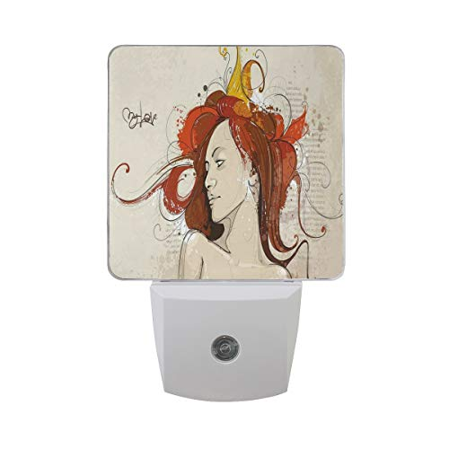Colorful Plug in Night,Muse Woman Portrait in Grunge Style Elegance Hand Drawn Mystic Beauty Picture,Auto Sensor LED Dusk to Dawn Night Light Plug in Indoor for Childs Adults