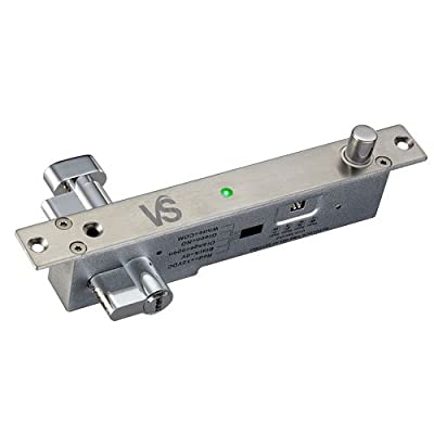 Visionis VIS-DP103WCY-FSE-LED Electric Drop Bolt Lock with Key Cylinder 2,200lbs with LED and Time Delay Fail Secure Normally Open Dead Bolt